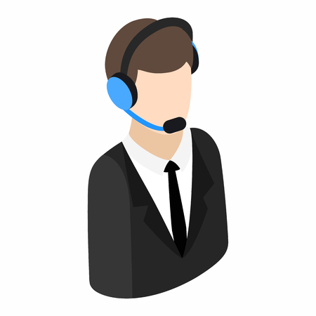 phone service: Service operator isometric 3d icon on a white background. Operator in headset