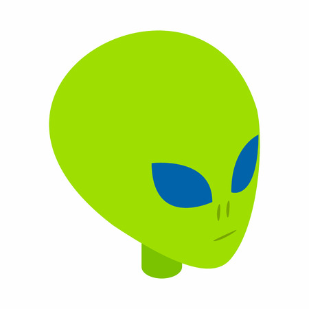 abduct: Green alien head 3d isometric icon isolated on a white background Illustration