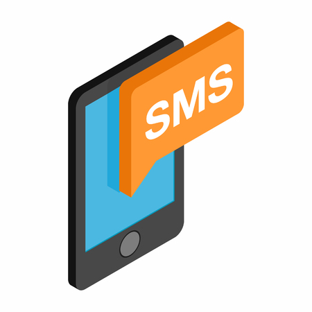 Smartphone sms isometric 3d icon isolated on a white background Illustration