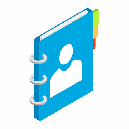 bookmarks: Closed spiral notebook with colorful bookmarks isometric 3d icon on a white background