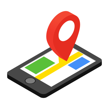 navigation map: Smartphone with GPS navigator isometric 3d icon on a white background