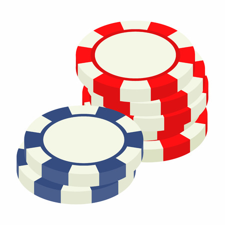 Red and bue casino tokens isometric 3d icon on a white background