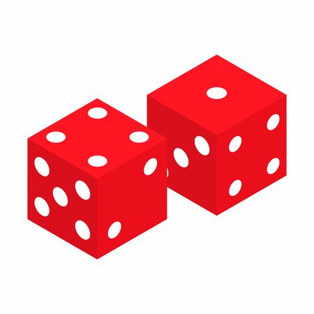 Dados rojos 3D isométrico icono sobre un fondo blanco