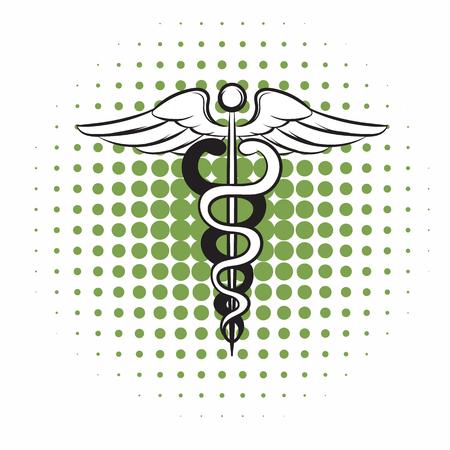caduceo: Caduceo icono cómics símbolo médico sobre un fondo blanco