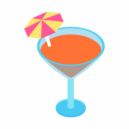 tubule: Cocktail with umbrella isometric 3d icon on a white background Illustration