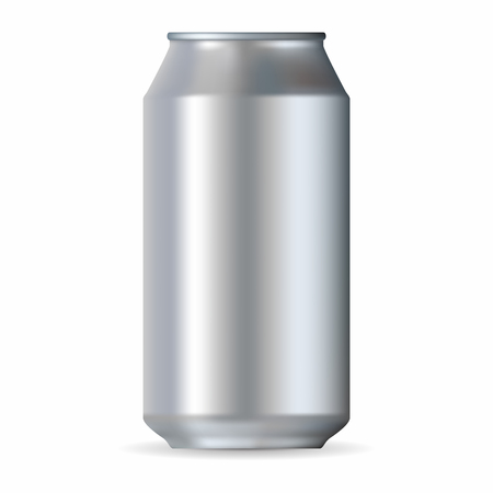 aluminum can: Realistic silver aluminum can isolated on a white background