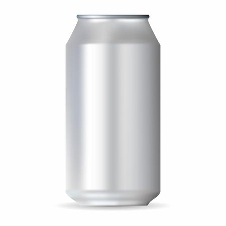 lata de refresco: aluminio blanco realista puede aislado en un fondo blanco