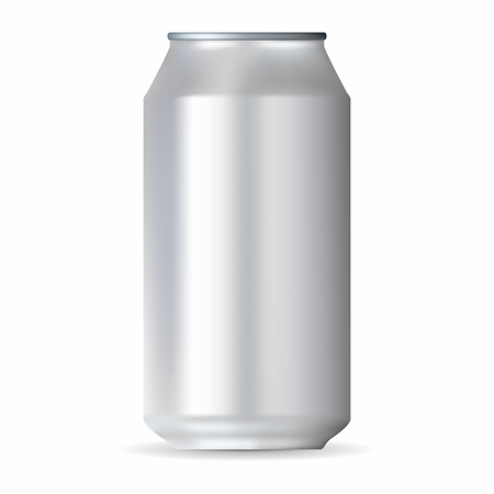 aluminum can: Realistic white aluminum can isolated on a white background