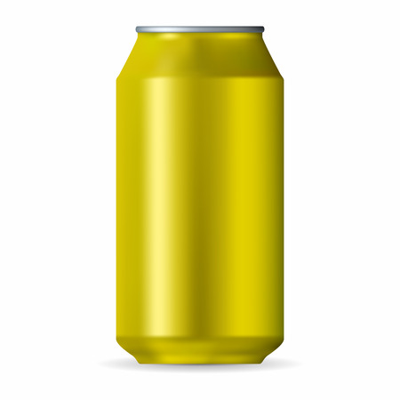 unbranded: Realistic yellow aluminum can isolated on a white background
