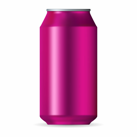 aluminum can: Realistic pink aluminum can isolated on a white background Illustration