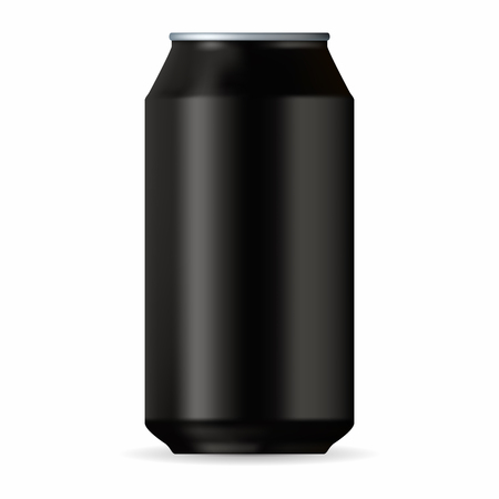 aluminum can: Realistic black aluminum can isolated on a white background Illustration