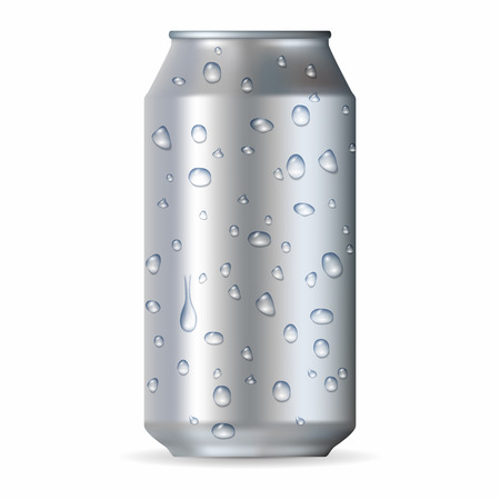 tonic: Realistic silver aluminum can with drops isolated on a white background Illustration