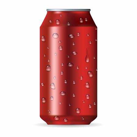 lata de refresco: Realista lata de aluminio rojo con gotas aisladas sobre un fondo blanco Vectores