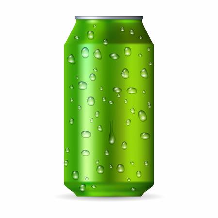 lata de refresco: Realista lata de aluminio verde con gotas aisladas sobre un fondo blanco