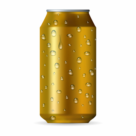 aluminum can: Realistic gold aluminum can with drops isolated on a white background Illustration