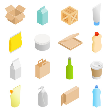 paper case: Packaging isometric 3d icons set isolated on white background Illustration