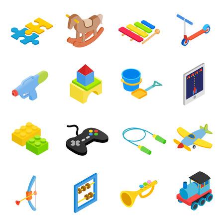 Giocattoli isometrica 3d icone impostare isolato su sfondo bianco