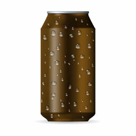 aluminum can: Realistic brown aluminum can with drops isolated on a white background