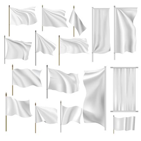 textil: Banderas y pancartas conjunto aislado sobre fondo blanco