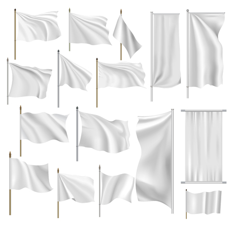 textile fabrics: Flags and banners set isolated on white background