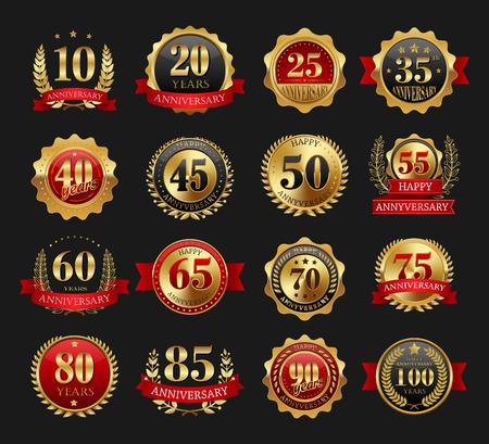 Anniversary golden signs set on black background