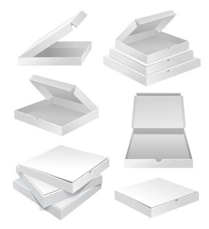 Realista 3d la pizza blanca vacía caja de cartón paquete conjunto aislado sobre fondo blanco