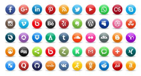 vimeo: 50 social media icons set isolated on white background Illustration