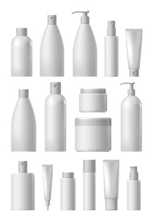 blanco conjunto de recopilación paquete cosmético aislado en el fondo blanco