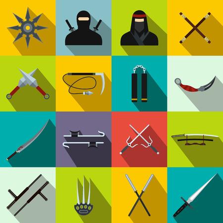 Ninja flat icons set for web and mobile devices Vektorové ilustrace