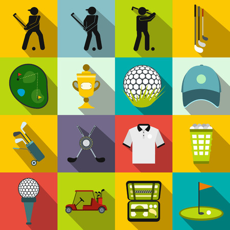 putting green: Golf flat icons set for web and mobile devices