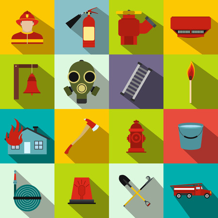 firefighter: Firefighter flat icons set for web and mobile devices