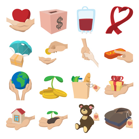 compassionate: Donate given or charity and assistance help or aid cartoon icons set on a white Illustration