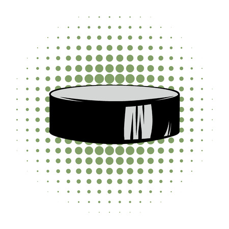 simbol: Hockey puck icona di fumetti. Ice-hockey simbolo su uno sfondo bianco Vettoriali