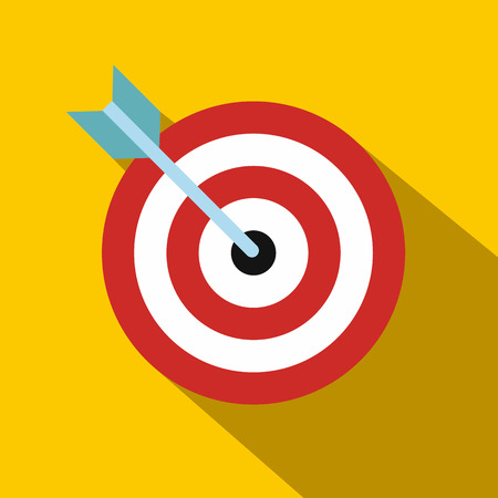 archery: Target with dart flat icon on orange background