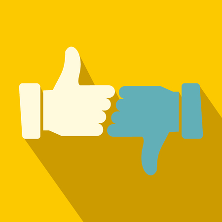 sign up icon: Hands showing thumbs up and down flat icon on a yellow background
