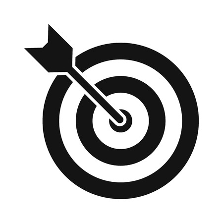 archery target: Target with dart black simple icon isolated on white background Illustration