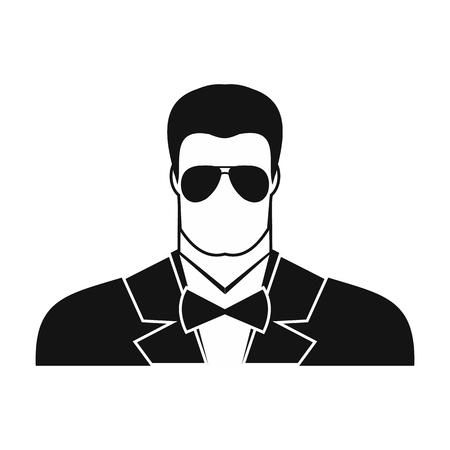 sentry: Bodyguard agent man black simple icon on white background Illustration