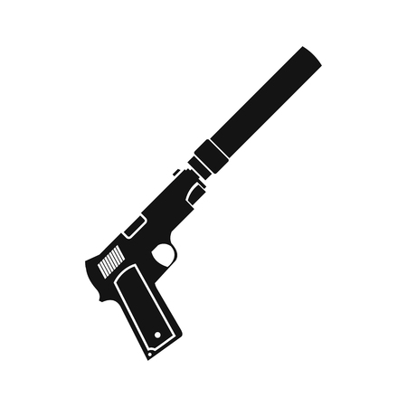 silencer: Pistol with silencer black simple icon isolated on white background
