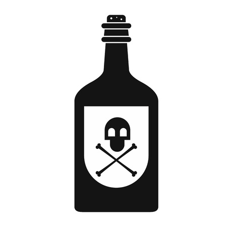 poison bottle: Poison bottle black simple icon isolated on white background