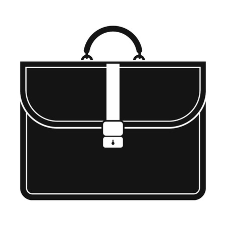 business briefcase: Brown business briefcase black simple icon isolated on white background