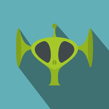 space invader: Green alien head flat icon with shadow for web and mobile devices
