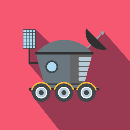 moon rover: Moonwalker flat icon with shadow for web and mobile devices Illustration