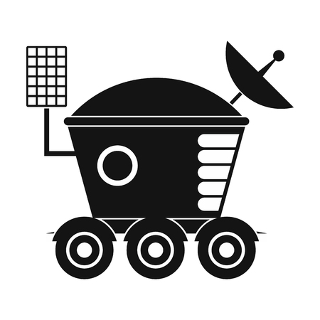 lunar rover: Moonwalker black simple icon isolated on white background Illustration