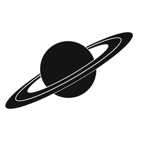 cosmology: Saturn black simple icon isolated on white background