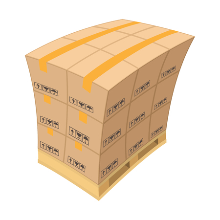 strapping: Pallet with cardboard boxes cartoon icon isolated on a white background