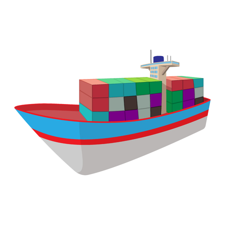 bulk carrier: Dry cargo cartoon icon isolated on a white background