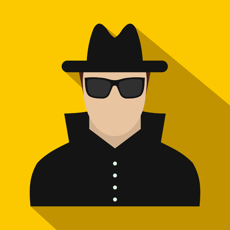 evade: Man in black sunglasses and black hat flat icon on a yellow background. Secret service security Illustration