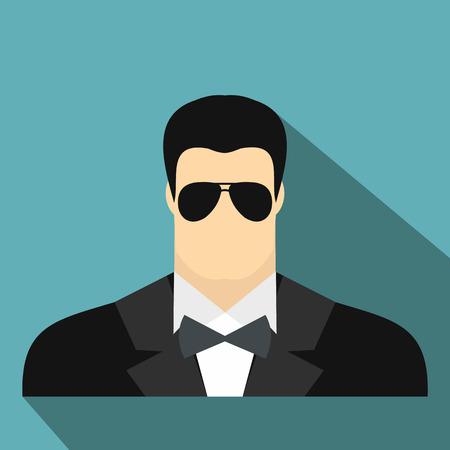 guardaespaldas: agente de guardaespaldas hombre icono de plano sobre un fondo azul