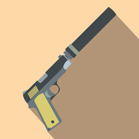 silencer: Pistol with silencer flat icon on a beige background