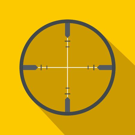 icona piatta Crosshair su uno sfondo giallo Vettoriali